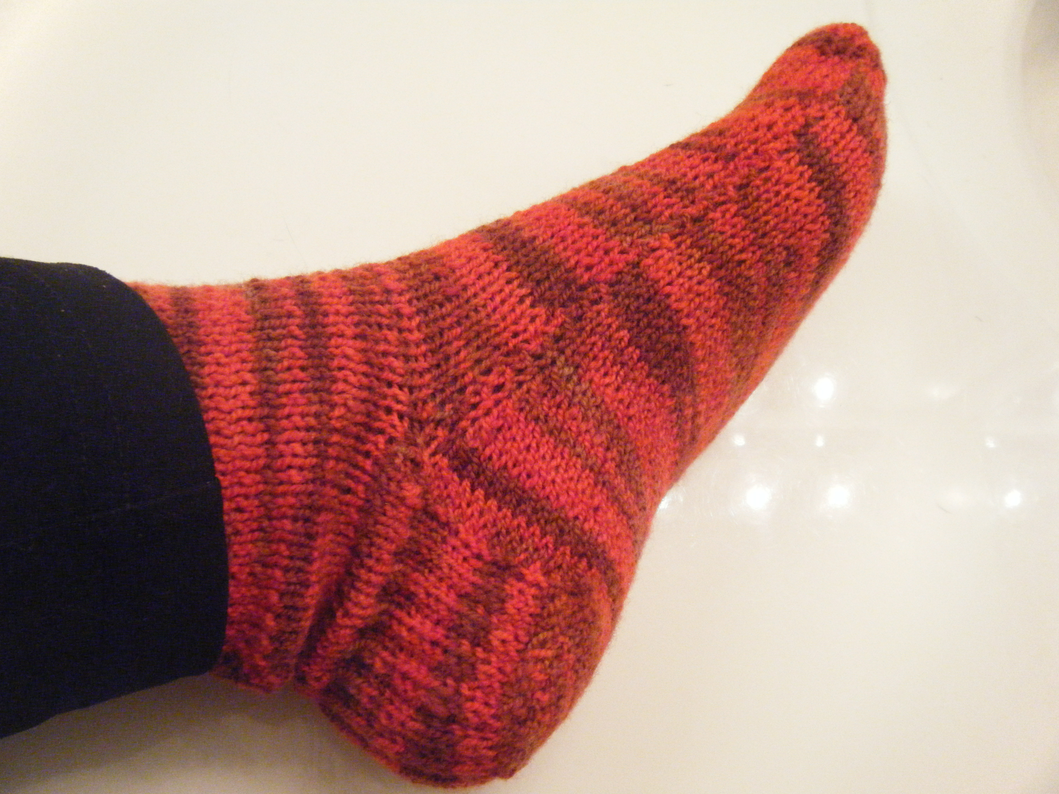 Knitted Slippers Pattern With Two Needles : Sunset In Sedona Two Needle Socks Liver Chick Knits